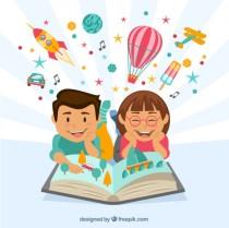 ninos-felices-leyendo-un-libro-imaginativo_23-2147533259